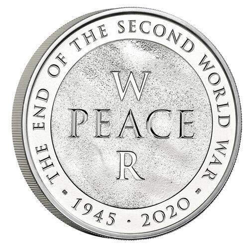 Rückseite:Großbritannien : 5 Pfund 75 Jahre Ende WW2 - Blister  2020 Stgl.