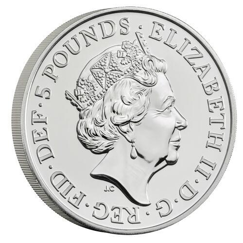 Vorderseite:Großbritannien : 5 Pfund 75 Jahre Ende WW2 - Blister  2020 Stgl.