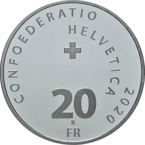 Rückseite:Schweiz : 20 sfr Sustenpass mit Künstlerzertifikat  2020 PP