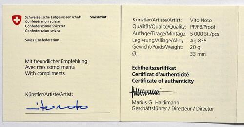 Zertifikat:Schweiz : 20 sfr Sustenpass mit Künstlerzertifikat  2020 PP