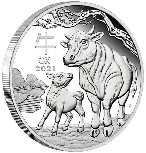 Zertifikat:Australien : 1 Dollar Jahr des Ochsen  2021 PP