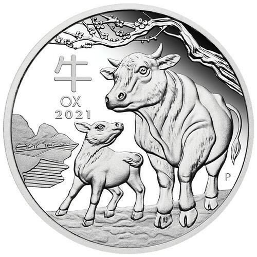 Vorderseite:Australien : 0,5 Dollar Jahr des Ochsen  2021 PP