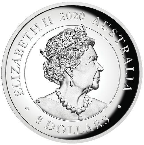 Rückseite:Australien : 8 Dollar Australisches Känguru 5oz Hohes Relief   2020 PP