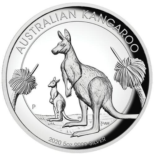 Vorderseite:Australien : 8 Dollar Australisches Känguru 5oz Hohes Relief   2020 PP