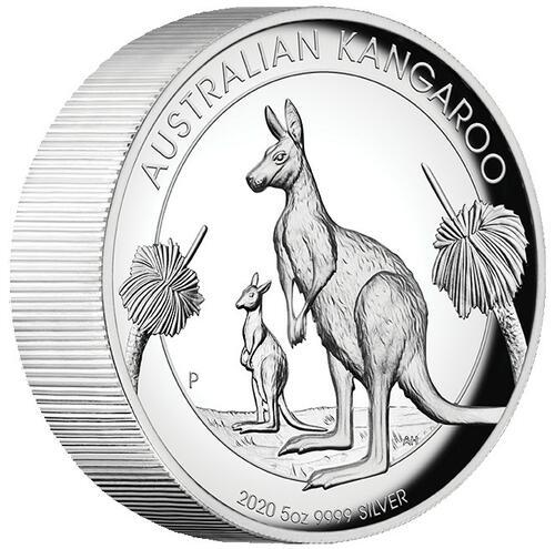 Zertifikat:Australien : 8 Dollar Australisches Känguru 5oz Hohes Relief   2020 PP