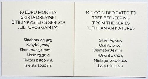 Zertifikat:Litauen : 10 Euro Baumbienenhaltung  2020 PP
