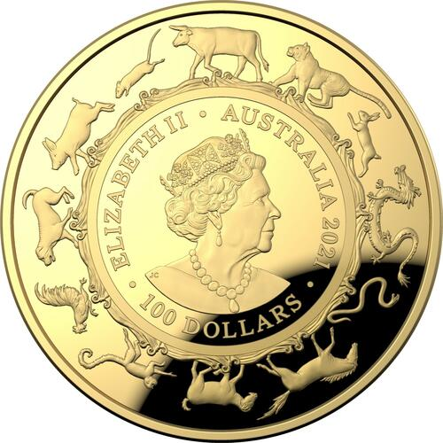 Rückseite:Australien : 100 Dollar Year of the Ox 1 Oz   2021 PP