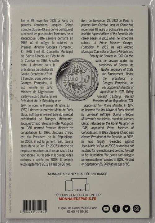 Zertifikat:Frankreich : 10 Euro Jacques Chirac  2020 Stgl.