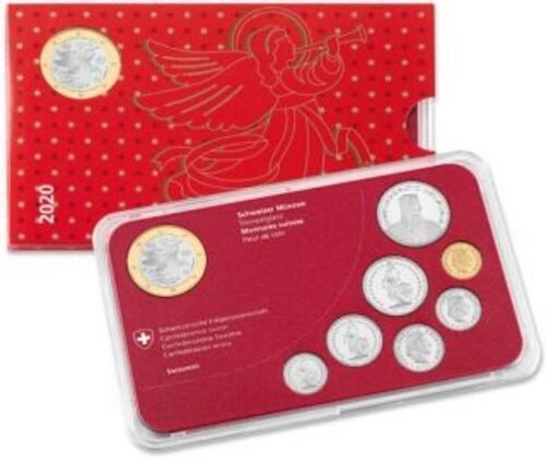 Lieferumfang:Schweiz : 8,85 sfr Weihnachtssatz mit Weihnachtsmannmedaille  2020 Stgl.