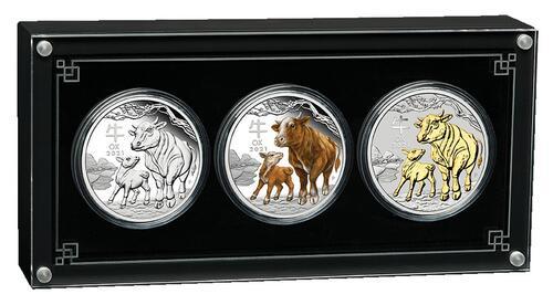 Lieferumfang:Australien : 3 Dollar Jahr des Ochsen Set aus 3 Silbermünzen farbig  2021 PP