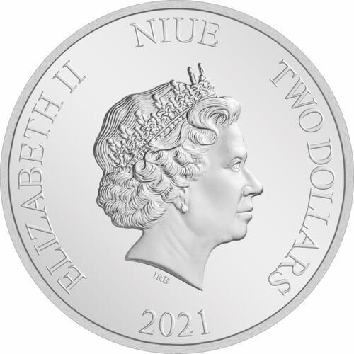 Rückseite:Niue : 2 Dollar Liebe ist wertvoll  2021 PP