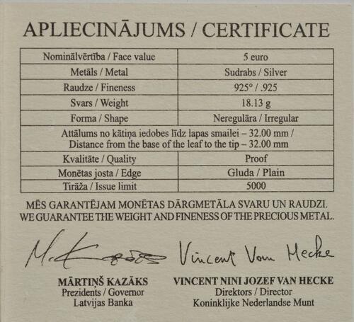 Zertifikat:Lettland : 5 Euro Lindenblatt  2020 PP