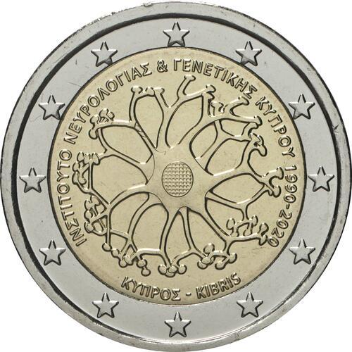 Rückseite:Zypern : 2 Euro 30 Jahre Institut für Neurologie und Genetik  2020 bfr
