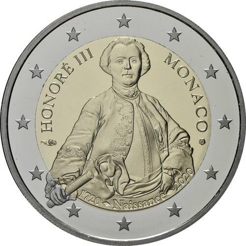 Rückseite:Monaco : 2 Euro 300. Geburtstag von Fürst Honoré III.  2020 PP