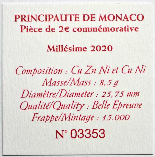 Zertifikat:Monaco : 2 Euro 300. Geburtstag von Fürst Honoré III.  2020 PP