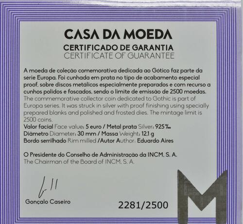 Zertifikat:Portugal : 5 Euro Gotik  2020 PP