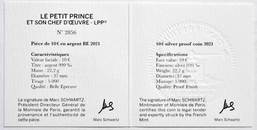 Zertifikat:Frankreich : 10 Euro Buch  2021 PP