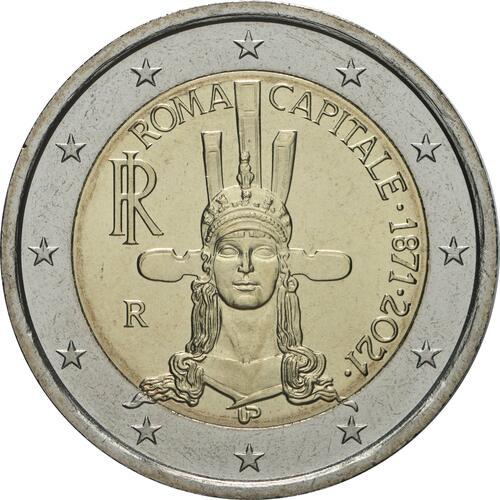 Rückseite:Italien : 2 Euro Rom - 150 Jahre Hauptstadt von Italien  2021 bfr