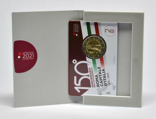 Lieferumfang:Italien : 2 Euro Rom - 150 Jahre Hauptstadt von Italien  2021 Stgl.