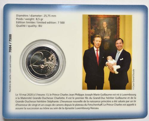 Zertifikat:Luxemburg : 2 Euro Prinz Charles Münzzeichen Brücke  2020 Stgl.