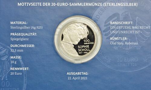 Zertifikat:Deutschland : 20 Euro 100. Geburtstag Sophie Scholl  2021 PP