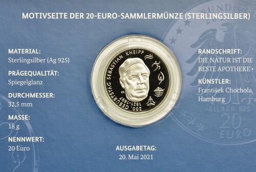 Zertifikat:Deutschland : 20 Euro 200. Geburtstag Sebastian Kneipp  2021 PP