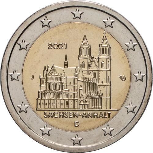 Rückseite:Deutschland : 2 Euro Sachsen-Anhalt - Magdeburger Dom Buchstabe unserer Wahl  2021 bfr