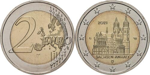 Lieferumfang:Deutschland : 2 Euro Sachsen-Anhalt - Magdeburger Dom  2021 bfr