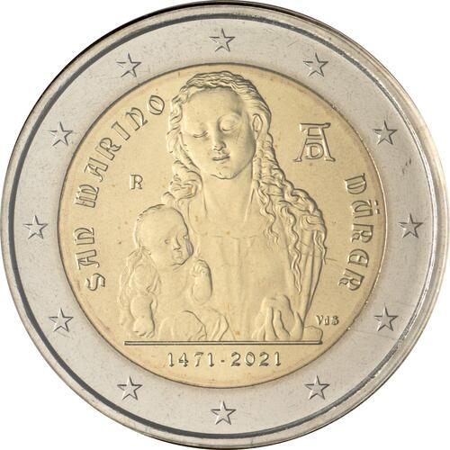 Rückseite:San Marino : 2 Euro 550. Geburtstag von Albrecht Dürer  2021 Stgl.