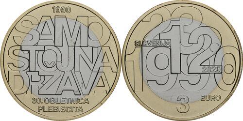 Lieferumfang:Slowenien : 3 Euro 30 Jahre Unabhängigkeit  2020 Stgl.