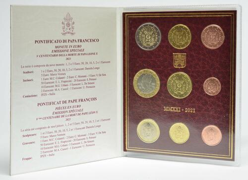 Lieferumfang:Vatikan : 8,88 Euro KMS Vatikan mit 5 Euro Papst Leo X.  2021 Stgl.