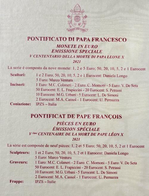 Zertifikat:Vatikan : 8,88 Euro KMS Vatikan mit 5 Euro Papst Leo X.  2021 Stgl.