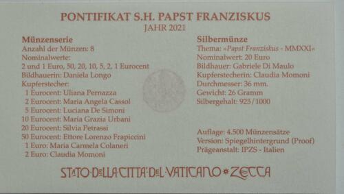 Zertifikat:Vatikan : 23,88 Euro KMS Vatikan mit 20 Euro Gedenkmünze  2021 f.Stgl.