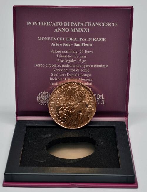 Lieferumfang:Vatikan : 20 Euro Kunst und Glaube: St. Peter  2021 Stgl.