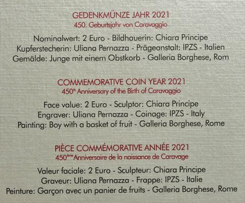Zertifikat:Vatikan : 2 Euro 450. Geburtstag von Caravaggio  2021 Stgl.