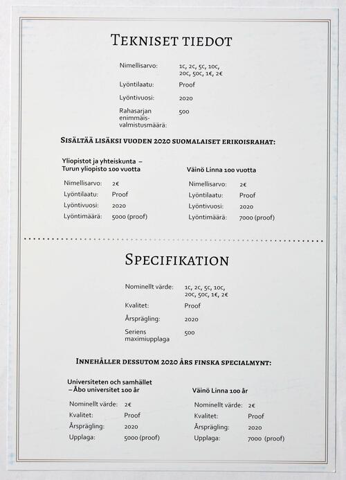 Zertifikat:Finnland : 7,88 Euro KMS Finnland inkl. 2 Euro Turku und Linna  2020 PP
