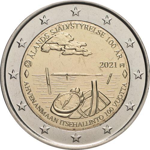 Rückseite:Finnland : 2 Euro 100. Jahrestag der Selbstverwaltung in der Region Aland  2021 bfr