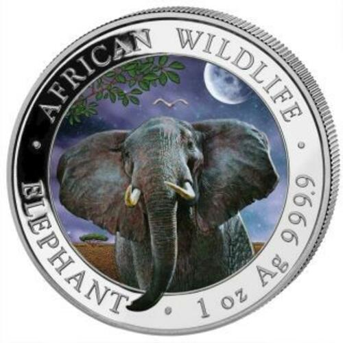 Rückseite:Somalia : 2x100 Schilling Elefant Farbset ´Day & Night´ farbig  2021 Stgl.