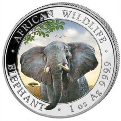 Vorderseite:Somalia : 2x100 Schilling Elefant Farbset ´Day & Night´ farbig  2021 Stgl.