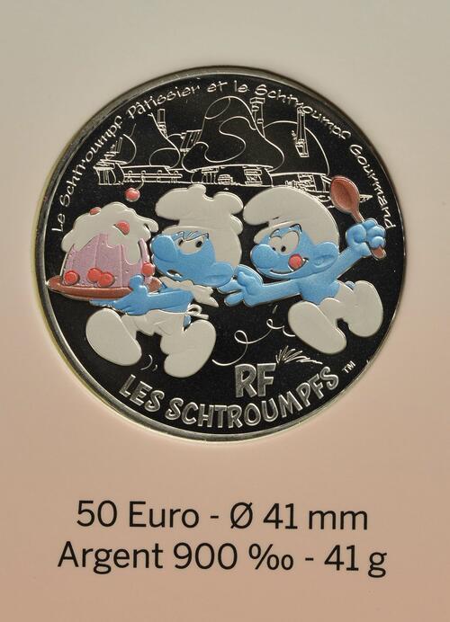 Vorderseite:Frankreich : 50 Euro hungriger Schlumpf  2020 Stgl.