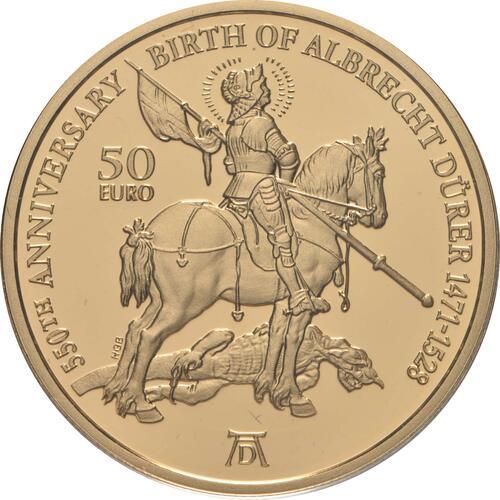 Vorderseite:Malta : 50 Euro 550. Geburtstag Albrecht Dürer  2021 PP