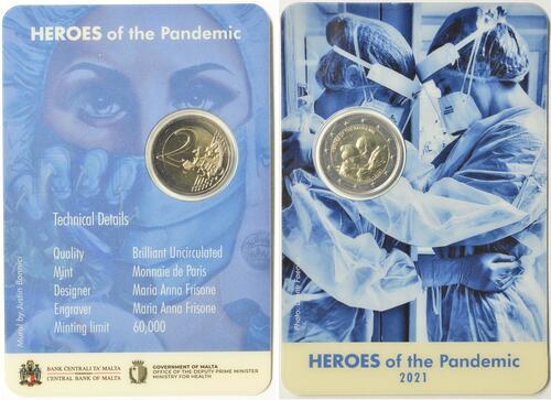 Zertifikat:Malta : 2 Euro Helden der Pandemie  2021 Stgl.