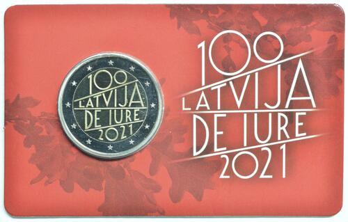 Lieferumfang:Lettland : 2 Euro 100. Jahrestag der Anerkennung der Republik Lettland  2021 Stgl.