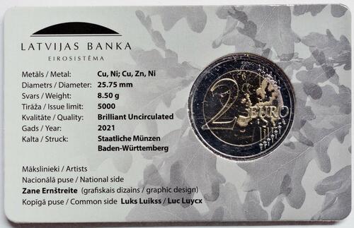 Zertifikat:Lettland : 2 Euro 100. Jahrestag der Anerkennung der Republik Lettland  2021 Stgl.