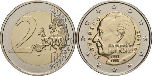 Lieferumfang:Slowakei : 2 Euro 100. Geburtstag von Alexander Dubcek  2021 bfr