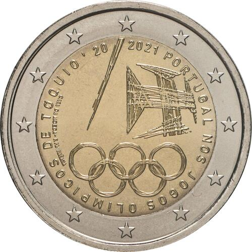 Rückseite:Portugal : 2 Euro Teilnahme an den Olympischen Spielen in Tokio  2021 bfr