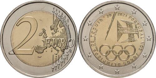 Lieferumfang:Portugal : 2 Euro Teilnahme an den Olympischen Spielen in Tokio  2021 bfr