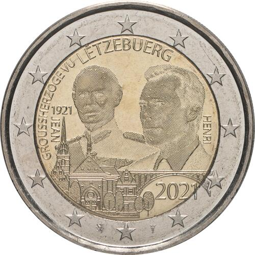 Rückseite:Luxemburg : 2 Euro 100. Geburtstag des Großherzogs Jean / Hologrammprägung  2021 bfr