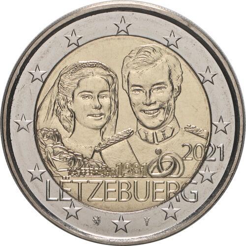 Rückseite:Luxemburg : 2 Euro 40. Hochzeitstag des großherzoglichen Paares / Reliefprägung  2021 bfr