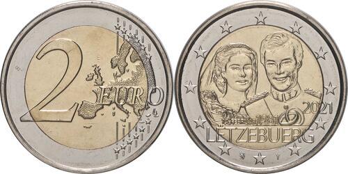 Lieferumfang:Luxemburg : 2 Euro 40. Hochzeitstag des großherzoglichen Paares / Reliefprägung  2021 bfr
